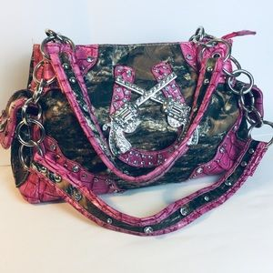 Pink Pistol Camo Bling Western Purse Bag
